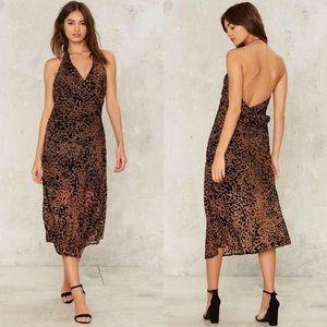 Foxiedox Effie Leopard Print Halter Midi Dress